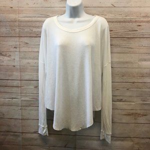 Wildfox Waffle knit long sleeve crew neck LS top